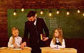 School For Girls. Girls School Concept. Pupils At School For Girls. Girls On School Lesson. Amazing  poster