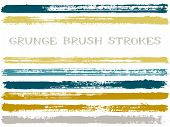 Gold Blue Ink Brush Strokes Isolated Design Elements. Set Of Paint Lines. Urban Stripes, Textured Pa poster