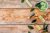 Make Cosmetics With Tea Tree Essential Oil. Homemade Cosmetics. Fresh Tea Tree Leaves, Mortar And Pe poster