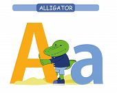 Letter A And Funny Cartoon Alligator.  Animals Alphabet A-z. Cute Zoo Alphabet In Vector For Kids Le poster