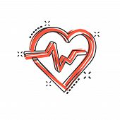 Vector Cartoon Heartbeat Line With Heart Icon In Comic Style. Heartbeat Concept Illustration Pictogr poster