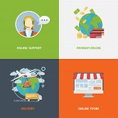 Set Of Four Flat Style Vector Shopping Icons On Colorful Squares Depicting Online Store, Online Supp poster