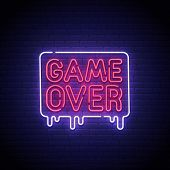 Game Popup. Game Over Neon Sign, Bright Signboard, Light Banner. Game Over Logo Neon, Emblem. Vector poster