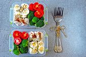 Lunch Boxes With A Healthy Meal. Vegetables, Quail Eggs And Chicken Breast. Lunch Boxes To Go. poster