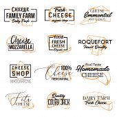 Set Of Isolated Sketch Icons Of Cheese. Banners For Dairy Nutrition With Mozzarella And Emmental, Ro poster