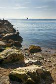 Rocky Beach On Adriatic Sea Landscape. Rocky Shore And Sea Landscape. Sea Horizon View In Italy. Sea poster