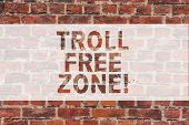 Handwriting Text Writing Troll Free Zone. Concept Meaning Social Network Where Tolerance And Good Be poster