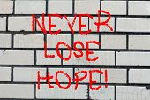 Conceptual Hand Writing Showing Never Lose Hope. Business Photo Text Be Positive Optimistic Have Mot poster