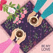 Fall In Love Couple, Sitting Around The Table,drinking Coffee.with Rose Bouquet And Note Love You.cu poster