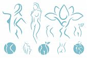 Women Fitness Logo Icon. Sports, Health, Spa, Yoga, Beauty Vector Logo. Woman Silhouette Logo. Diet  poster