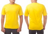 Yellow T-shirt Mock Up, Front And Back View, Isolated On White. Male Model Wear Plain Yellow Shirt M poster