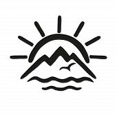 Sun, Sea, Mountains. Vector Icon, Logo For The Theme Of Travel And Tourism. poster