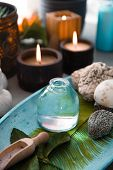 Spa And Wellness. Spa Products In Natural Setting With Orchid Flower .spa Treatment With Lotion poster