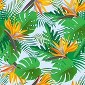 Seamless Tropical Pattern, Vivid Tropic Foliage, With Monstera Leaf, Palm Leaves, Paradise Exotic Fl poster