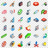 Business Statistics Icons Set. Isometric Style Of 36 Business Statistics Vector Icons For Web For An poster