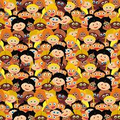 VECTOR - Kiddy Background - Kindergarten Smart Boys & Cute Girls Faces - Back to School Wrapper - Happy Schoolboy & Schoolgirl