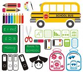 Set of School Tools, Symbols & Icons