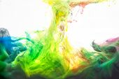 Ink In Water. Abstract Background. . Ink Swirling In Water. Ink In Water Isolated On White Backgroun poster