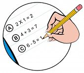 VECTOR - Close-up of Hand holding Pencil and Writing the Math Homework on notepaper - Useful for Bac