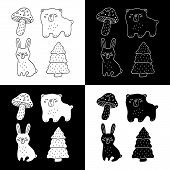 Cute Cartoon Hand Drawn Forest Objects Illustration Set. Sweet Vector Black And White Forest Objects poster