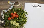 Diet Plan, Menu Or Program, Measuring Tape And Diet Food Fresh Arugula And Cherry Tomatoes And Cucum poster