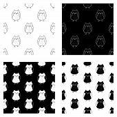 Cute Cartoon Hand Drawn Owl Pattern Collection. Sweet Vector Black And White Owl Pattern Collection. poster