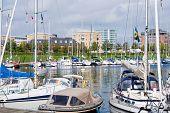 Urban Mooring Of Boats In Copenhagen, Denmark