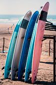 Different Colors Of Surf On A The Sandy Beach In Casablanca - Morocco. Beautiful View On Sandy Beach poster