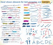 Collection of hand-drawn,text correction and highlighting elements - Jpeg version of vector illustration