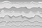 Rip Paper Page. Torn Page Transparent Grunge Border, Broken White Cardboard, Rough Damaged Scrapbook poster