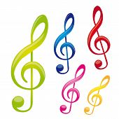 image of treble clef  - colorful music notes isolated over white background - JPG
