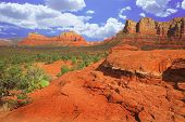 Courthouse Butte And Prickley Pear Cactus