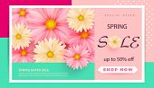 Spring Sale Banner Template With Paper Spring Flowers For Online Woman Shopping, Vector Illustration poster