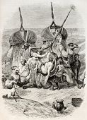 Women getting up camel palanquin, old illustration. Created by Vernet, published on Magasin Pittores