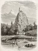 Aiguilhe and Saint-Michel chapel old view, France. Created by Thuillier, published on Magasin Pittoresque, Paris, 1845