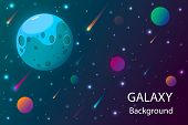 Space And Planet Background. Planets Surface With Craters, Stars And Comets In Dark Space. Vector Il poster