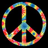 stock photo of peace-sign  - Multi Colored Tie Dyed Peace Symbol  - JPG