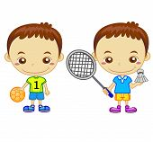 stock photo of badminton player  - A handball player and a badminton player isolated on white background - JPG