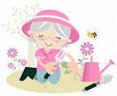 Senior Female Gardener Planting Flowers