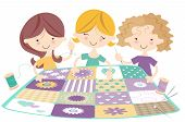 Three Happy Girls in Sewing Bee