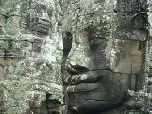 Stone Face At Angkor Wat Temple Banyon In Siem Reap Cambodia