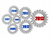 New Year 2013 And Previous Years In Gearwheels