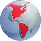 Map Of The Americas On Globe Illustration