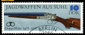 Vintage  Postage Stamp. Double-barreled Gun. 1978.