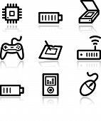Electronics Black Contour Web Icons