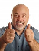 pic of feeling stupid  - middle age bald man giving thumbs up with happy expression - JPG