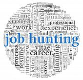 Job hunting concept in word tag cloud on white background