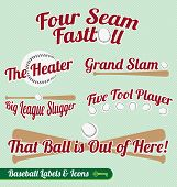 Vector Set: Baseball Bat and Ball Labels and Icons