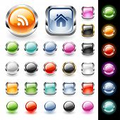 Set of glossy web buttons in various colors