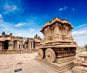 Picture of stone chariot in vittala temple. Hampi, karnataka, india.